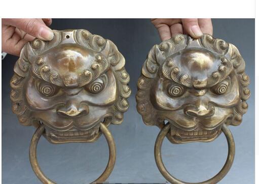bronze Pure Copper Old Qing Ming Brass Art 8 Chinese Brass Dragon Fu Foo Dog Guardion Lion Head Mask Door Knocker Pair
