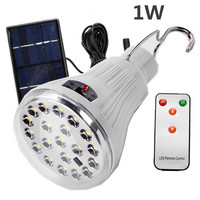 Protable Remote Control 20 LED Solar Power Bulb Light Indoor Outdoor Garden Tent Camping Fishing Household
