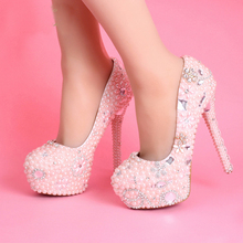 2016 Handmade Platforms Ultra High Heels Diamond Bridal Shoes Girl Prom Party Shoes Women Pumps Pink Wedding Dress Shoes