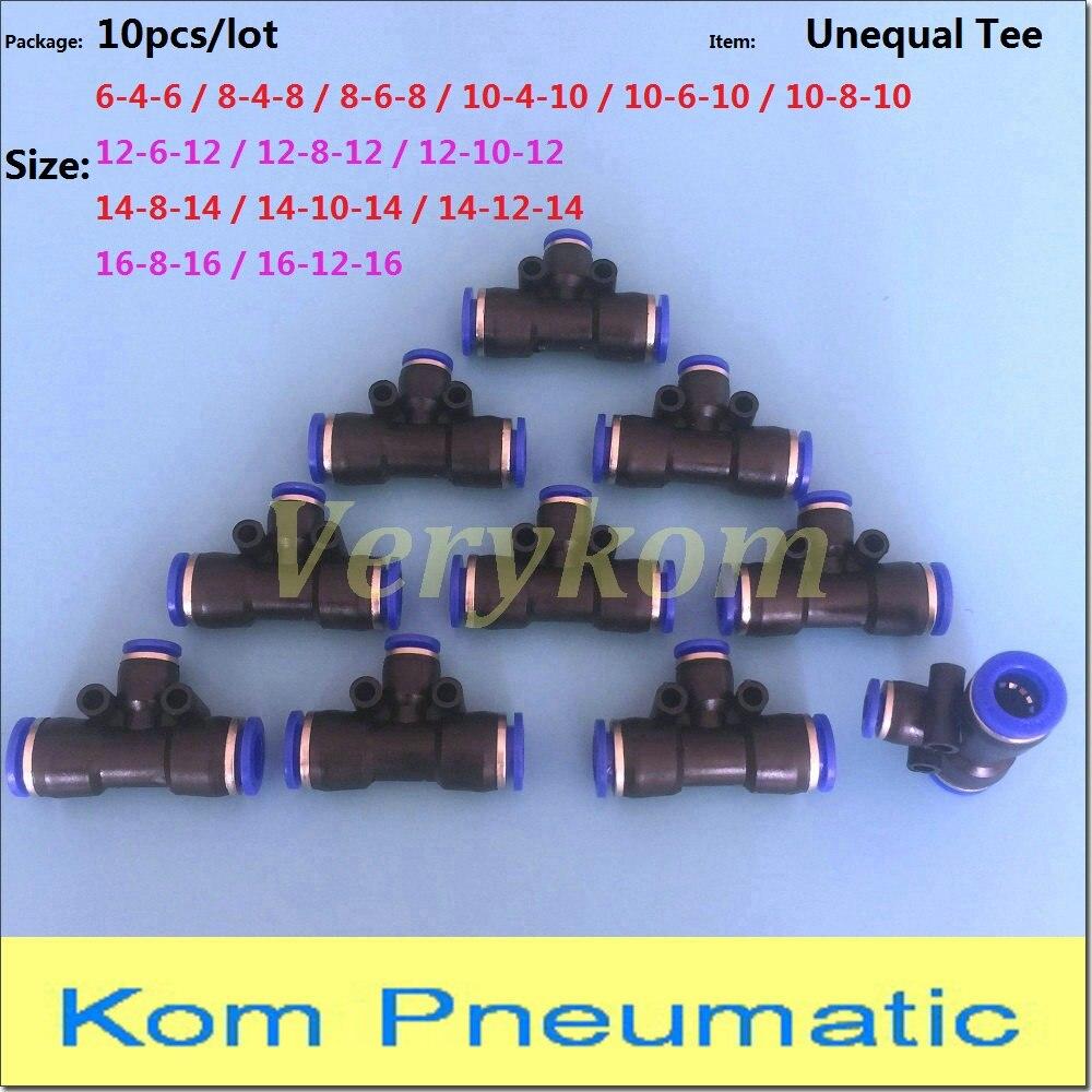 10 piezas neumático de 6mm a 6mm conector empujar en Camiseta en forma rápida Accesorios