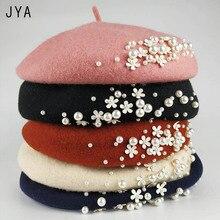 High Quality Knit 98% Pure Wool Felt Beret for Women Girls Elegant Female