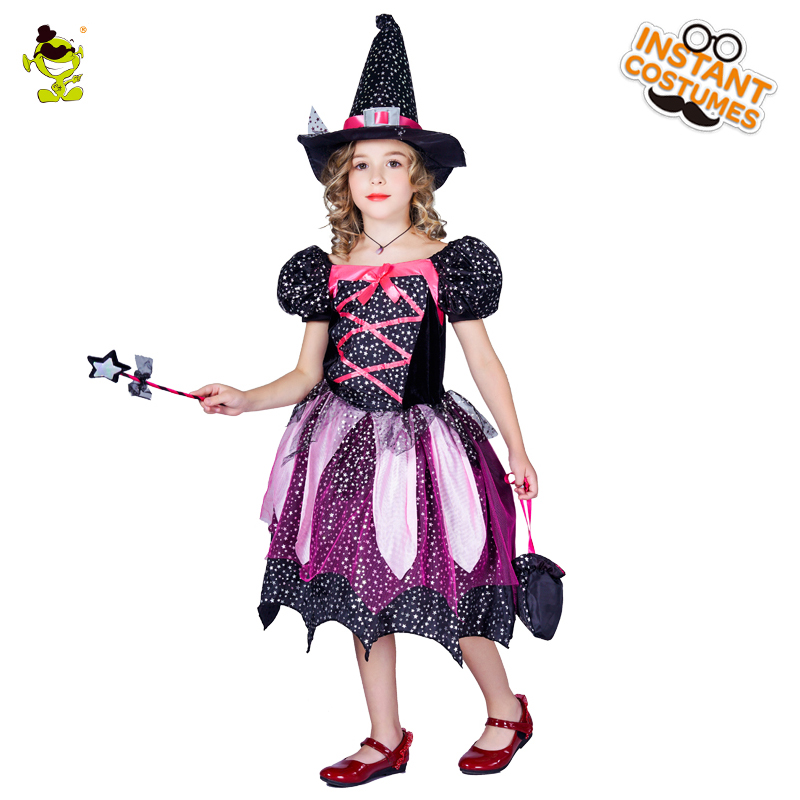 Girls Cute Witch Costume With Hat For girls halloween Cosplay Party Fancy Dress Costumes