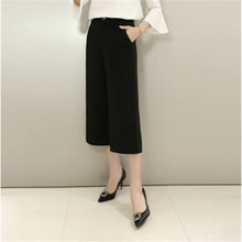 Pants England Style Calf-Length Wide Leg Pants black,women Fashion Straight Loose pants,capri Pants Female New style, TT855