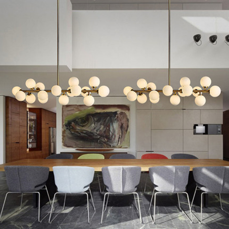 € 193.08 38% de réduction|Creative or salle à manger lustre lumière moderne  boule de verre suspension lampe luminaire suspension luminaire G4 LED ...