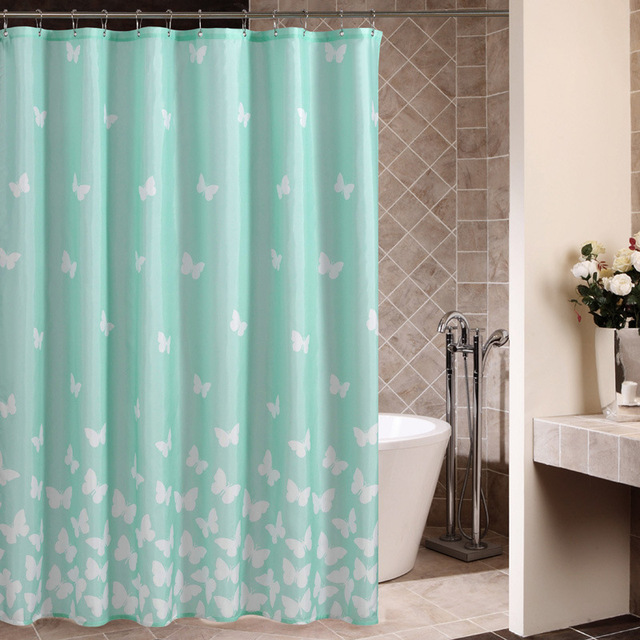 High Grade European And American Quality Polyester Cloth Shower Curtain Blue  Bottom Butterfly Spot Bathroom