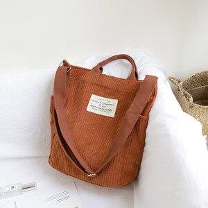 Image 3 - Femmes velours côtelé sac à bandoulière grande capacité tissu sac à main fourre tout femme bandoulière sacs de messager dames Simple toile sac à main avec fermeture éclair