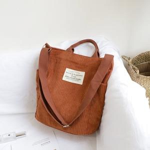 Image 3 - Frauen Cord Schulter Tasche Große Kapazität Tuch Handtasche Tote Weibliche Crossbody Messenger Taschen Damen Einfache Leinwand Zipper Geldbörsen