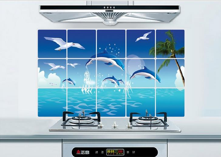 70cm*45cm Various Korea High-grade Aluminum Copper Waterproof and Oil Sticker Kitchen Dolphin Wall Stickers For Home Decor