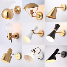 modern Nordic led Bedside Wall Lamp swing arm Corridor Hotel Golden Background Bedroom Wall sconce Lamp(China)