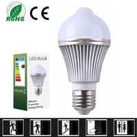 4PCS 5W LED Bulb Motion Sensor Lamp E27 Light Contorl Led Light Bulb Wall Light Street Path Home Garden Security Lamp