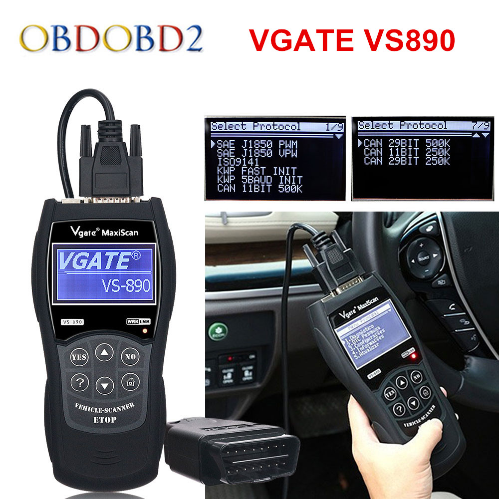 VGATE VS890 OBD2 Code Reader Universal OBDII Scanner Multi-languages And Car Diagnostic Tool Vgate VS 890 Free Ship