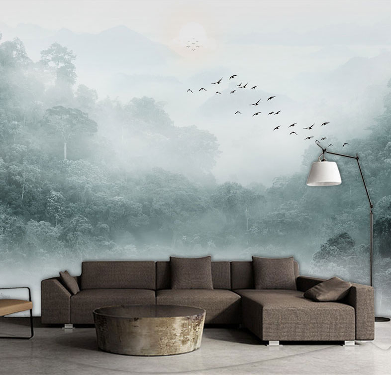 Fog Forest Birds Nature Wallpaper 3d Wall Murals for Living Room TV Background Wall Nature Mural 3d Wall paper 3d Photo Murals custom photo wallpaper 3d wall murals balloon shell seagull wallpapers landscape murals wall paper for living room 3d wall mural