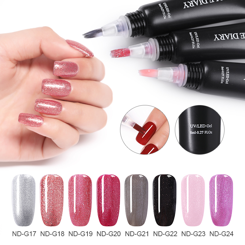 NICOLE DIARY 3 In 1 Rose Gold Nail Gel Polish No Need Base Top Coat Gel LED Lamp One Step Manicure Art Gel Lacquer Glitter in Nail Gel from Beauty Health