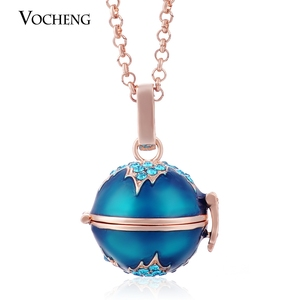 Image 3 - 10pcs/lot Vocheng Angel Locket Colorful Maple Leaf Style Pendant Necklace with Stainless Steel Chain VA 085*10 Free Shipping