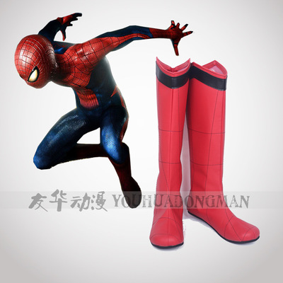 Spiderman Boots Halloween cosplay shoes Superhero Cosplay Accessories spider-man homecoming Spider-Man shoes red boots