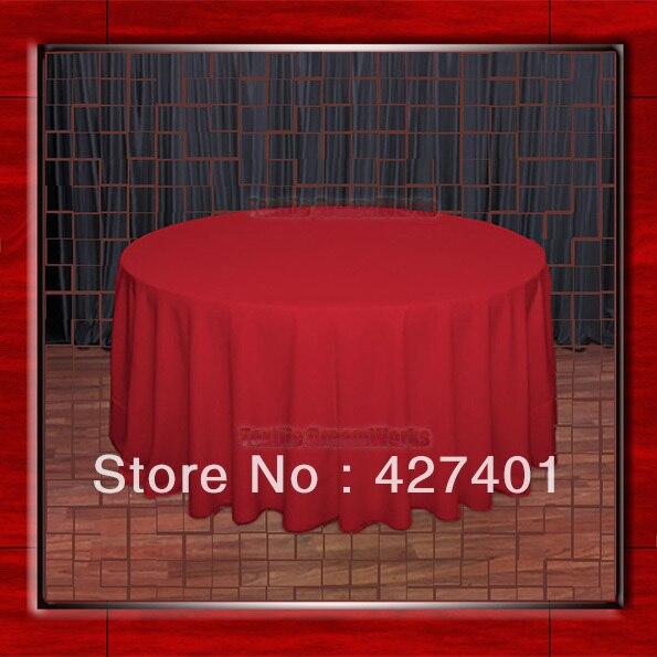 """뜨거운 판매 132 """"R 빨간색 라운드 테이블 천으로 폴리 에스테르 일반 테이블 커버 결혼식 이벤트 & 파티 장식 (공급 업체)"""