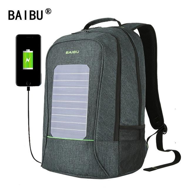 fca270e9fa8eb BAIBU Neue solar usb lade rucksack 15 zoll laptop rucksack business wasserdichte  tasche für männer reise