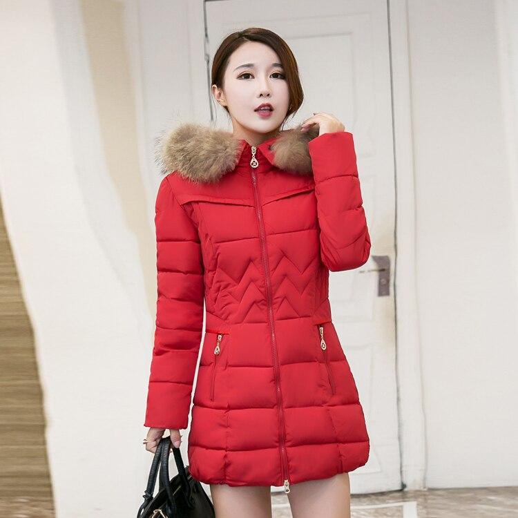 Capuchon Fourrure Arrivée rouge Mince Vestes Chaud Top Vêtements Hiver Avec Manteau Ladys Mignon Mode 2018 Nouvelle De Coton bleu Coupe À Femmes Nxh Noir vent EnAOvw7qx