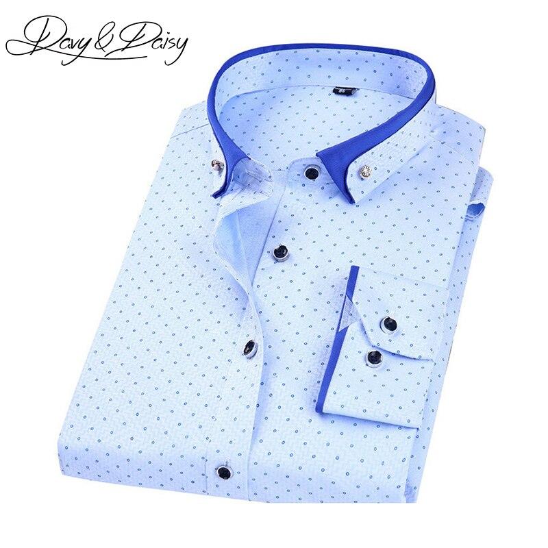 DAVYDAISY Chemise Homme de Haute Qualité Mens Chemises Robe Slim Fit à Manches longues De Mode Polka Dot Imprimer Casual Shirt Hommes 4XL DS-162