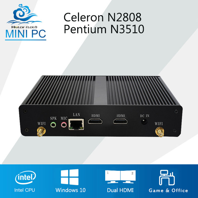 US $59 99 |2*HDMI Intel Celeron N2807 Mini PC Pentium N3510 Quad Core  Windows 10 Ubuntu Mini Computer HTPC Fanless 300M Wifi tv box player-in  Mini PC