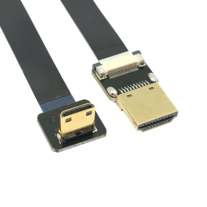 Angled FPV Mini HDMI Male Type C to HDMI FPC Flat Cable 10cm 20cm 30cm 50cm 80cm 100cm for Gopro 5D3 5D2 GH3 GH2 5N 5T 5R 7N fpv sony hdmi to av converter with hdmi to mini hdmi adapter cable for sony nex 5n 5t 5r 5c 7n