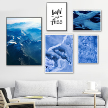 Surrealism Abstract Blue Mountain Nordic Posters And Prints Wall Art Canvas Painting Pictures For Living Room Home Decor