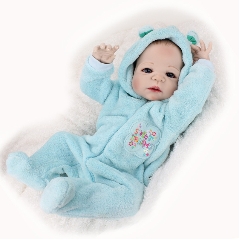 55cm/22 Lifelike Full Body Silicone Reborn Baby Boy Doll Blue Clothes with Bottle Toy Dolls Collection victoria reborn baby boy dolls 22 full vinyl body doll new fashion 55cm lifelike lovely doll in blue clothes reborn baby doll