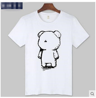 The new summer 2017 Cartoon Bear Short Sleeve T-shirt Loose Round Collar Shirt Sleeves Teenagers T-shirt