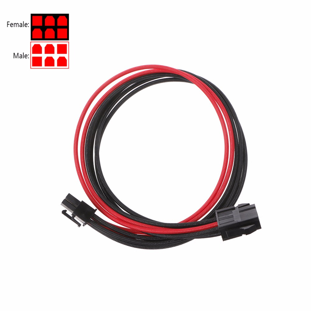 1 Pc High Quality Sleeved Black&Red GPU 6Pin PCIE PCI Express Male To Female Power Extension Cable 30cm C26
