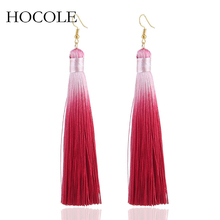 2018 Bohemian Gradient Color Tassel Earrings For Women Long Solid Silk Fringed Drop Dangle Wedding Jewelry Pendientes