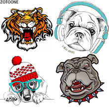 ZOTOONE Printed Animals Patch for Clothing DIY Iron on Transfer Stickers Applique Heat Applications on Clothes Patches Stripes E zotoone fashion puppy iron on transfer patch for clothing cartoon animals decors on t shirt applications clothes diy accessories