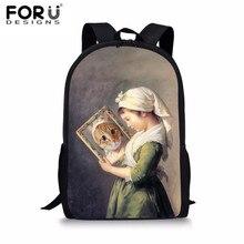 FORUDESIGNS Schoolbag Satchel Cartoon Girls Cats Printing Bookbag Animal School Bags For Teenage Kids Student Rucksack New