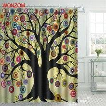WONZOM 1Pc Colorful Tree Waterproof Shower Curtain Bamboo Bathroom Decor Plant Decoration Cortina De Bano 2017 Bath Gift