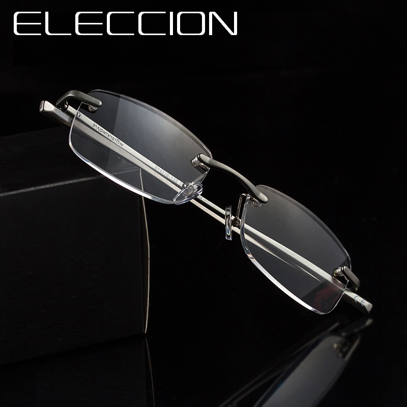 ELECCION Rimless Reader Eyewear Ultralight Reading Glasses For Mens Glasses Magnifier Wo ...