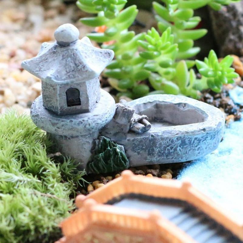 retro resina estanque torre casa modelo musgo figuras juguetes diy miniaturas mini hada del jardn ornamentos
