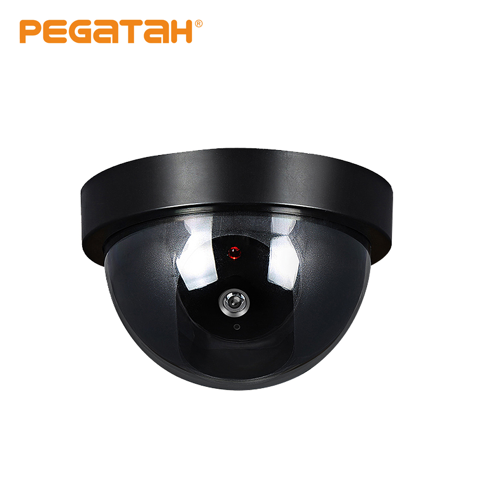 Mini câmera de cctv falso/manequim dome câmera flash luz vermelha instalar para fora/indoor câmera de segurança de vigilância suporte colocar bateria