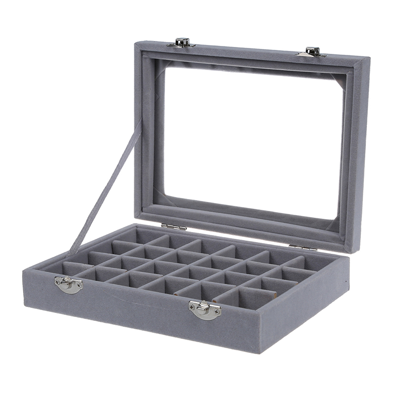 Royal Velvet With Glass Jewelry Box (24 Grid) 8