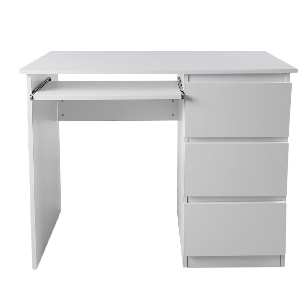 Computer Table Desk PC Table Home Study Office Table Work Desk Workstation Desk Furniture With Keyboard Tray White DX-109 wooden dressing table makeup desk with stool oval rotation mirror 5 drawers white bedroom furniture dropshipping