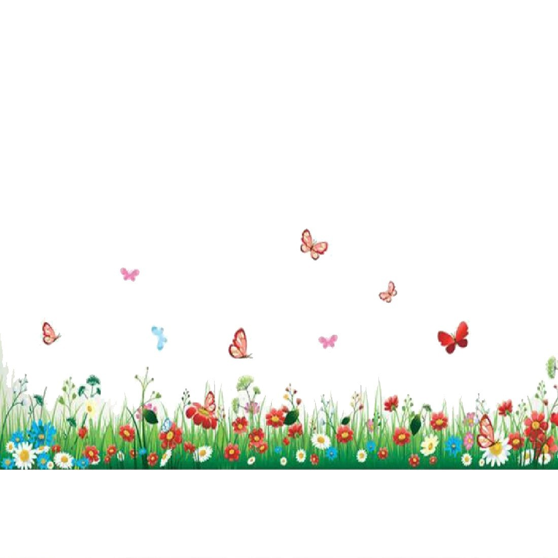 Hot Sale Colorful Butterfly Flower Grass Wall Stickers