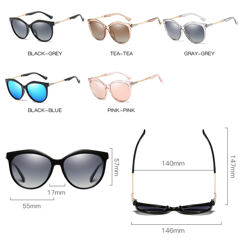 2019 New Luxury HD Polarized Women Sunglasses Fashion Round Ladies Vintage Brand Design cat eye woman Female Sun Glasses oculos 5