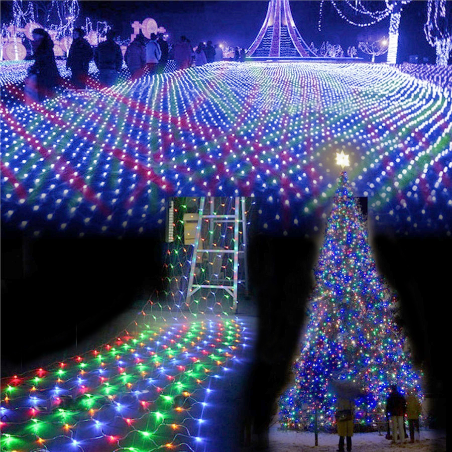 AC220V 4Mx6M 750 LED Net String Lights Outdoor Christmas Fairy String Light For Xmas Holiday Wedding Party Decoration 8 Mode