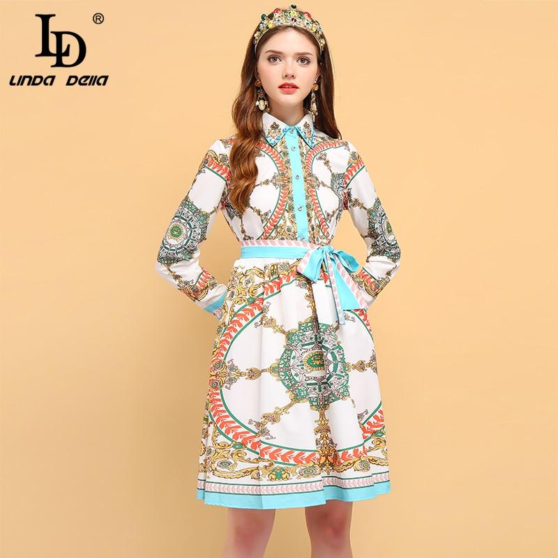 LD LINDA DELLA Autumn Fashion Runway Long Sleeve Dress Women s Bow Tie Floral Print Beading
