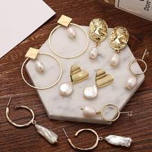 Yobest New Design Round Hollow Drop Earring Metal Gold Geometric Earrings For Women Statement Vintage Jewelry