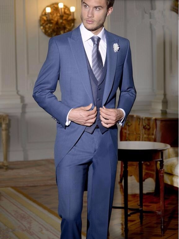 2.1Tailor Made Navy Blue Gentleman Suit Tailcoat newest Style Groom suits Tuxedos Long Wedding Prom Party Suits(jacket+vest+pants)