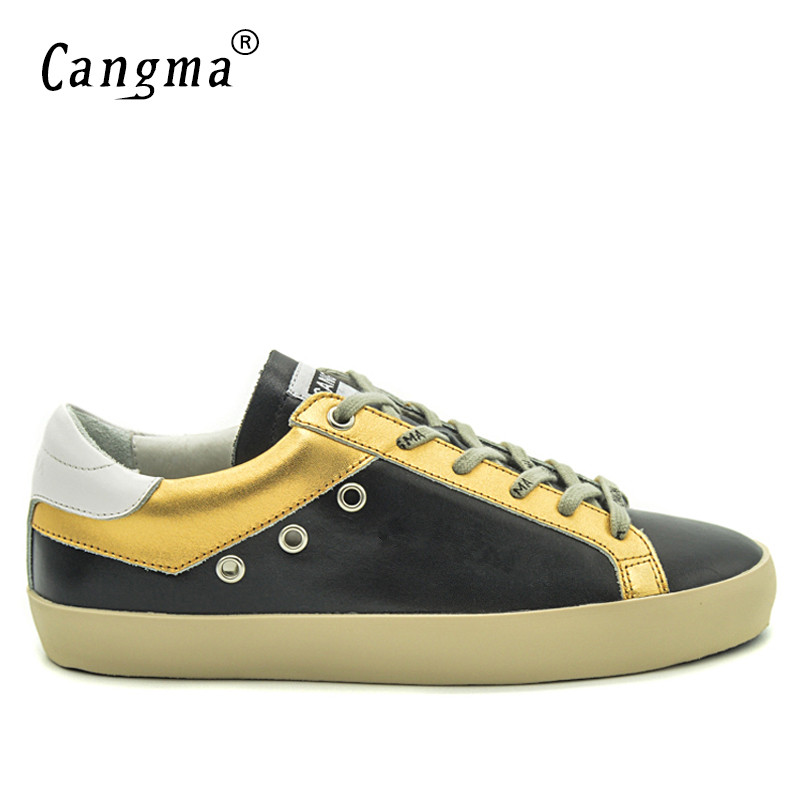 CANGMA Brand Sneakers Men Casual Shoes Genuine Leather Black Gold Shoes Breathable Retro Platform Shoes Man Adult Male Plus SizeCANGMA Brand Sneakers Men Casual Shoes Genuine Leather Black Gold Shoes Breathable Retro Platform Shoes Man Adult Male Plus Size