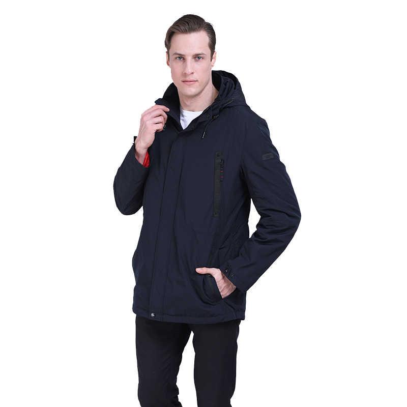 2019 新メンズジャケットトレンチコート男性カジュアルパッド入りコート秋のファッションパーカーオム取り外し可能なフードプラスサイズスポーツ Caming ジャケット