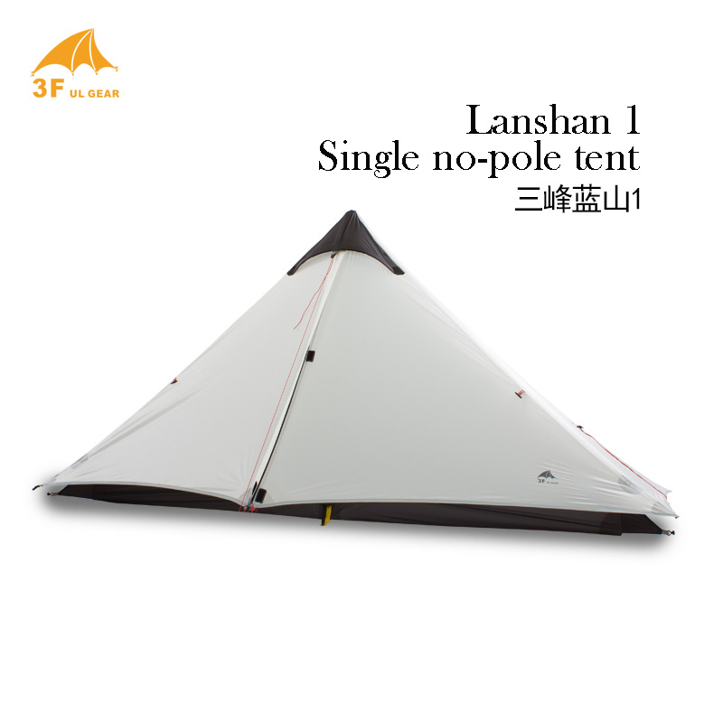 3F UL Gear Lanshan1 15D ultra-light 1-tower-top Shape Single 3-Season Silicon Coating Camping Tent No Poles No Ground Sheet starbaits kosy ground sheet