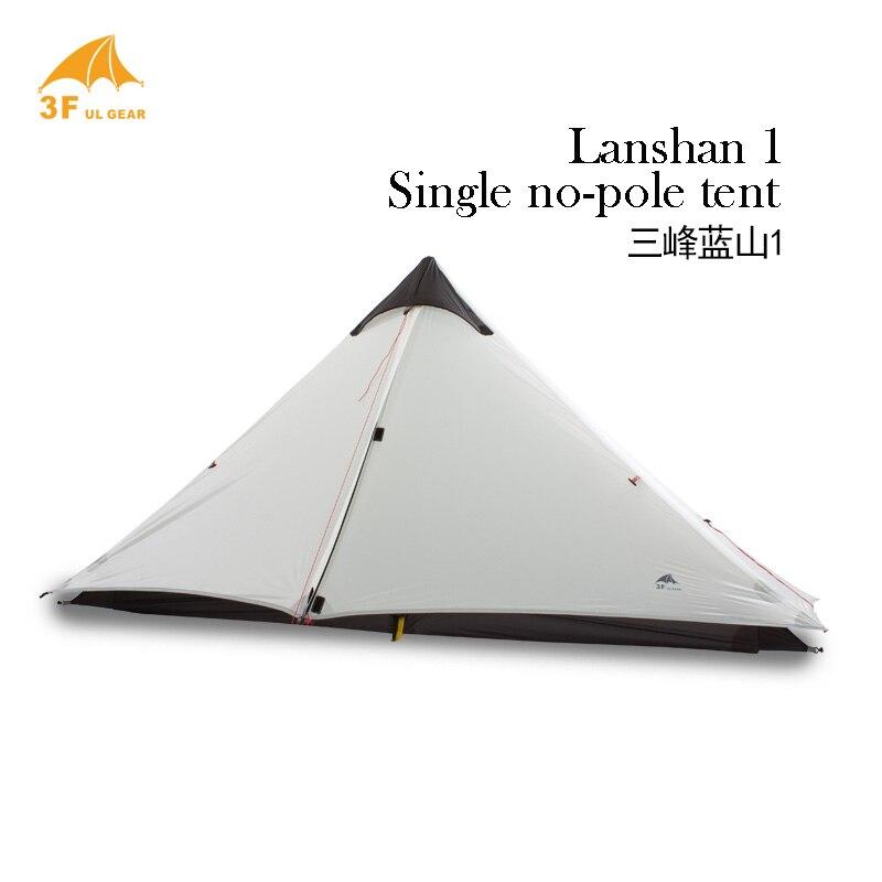 3F UL Gear Lanshan1 15D unique 3 saisons ultra-léger 1-tour-top forme silicium revêtement Camping tente pas de poteaux pas de feuille de sol