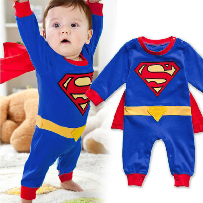 Newborn Baby Boy   Romper   Superman Boys   Rompers   Spring Autumn Clothing Long Sleeve with Smock Halloween Christmas Costume Gift