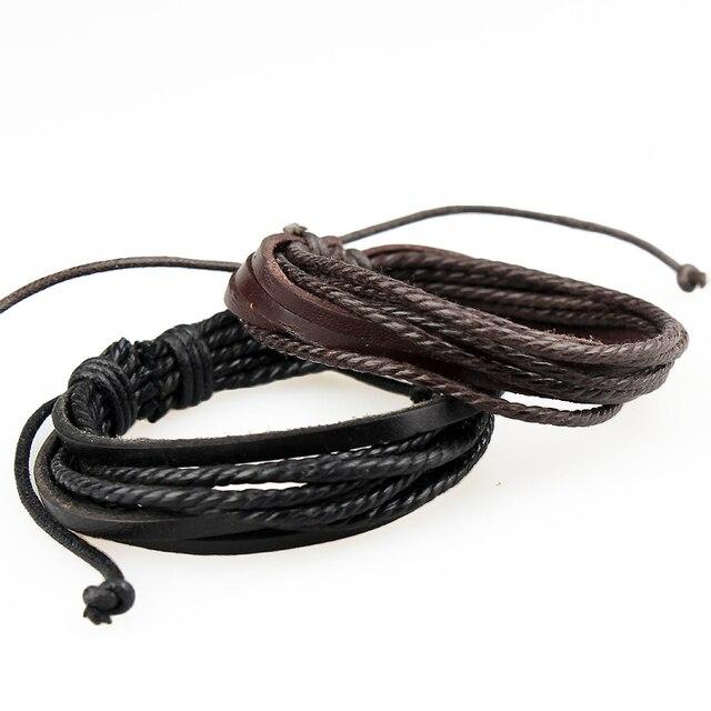 fashion jewelry strand bracelets bangles,leather bracelet accessories for men,mult-layer wrap charm men bracelet armband